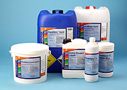 collection of pool chemicals